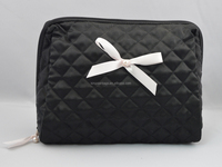china supplier quilted cotton pattern Cosmetic bag with satin ribbon bow
