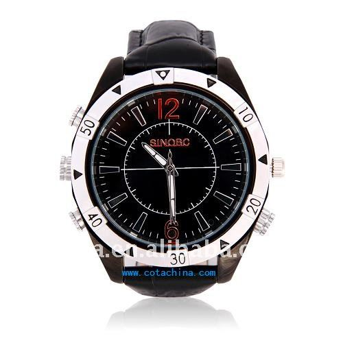 720P HD Waterproof Leather Band Surveillance Watch Mini USB Camera CT-W128