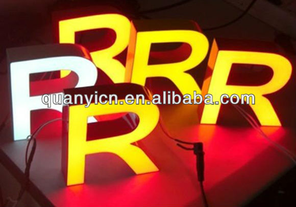 Colorful fronlit led resin words