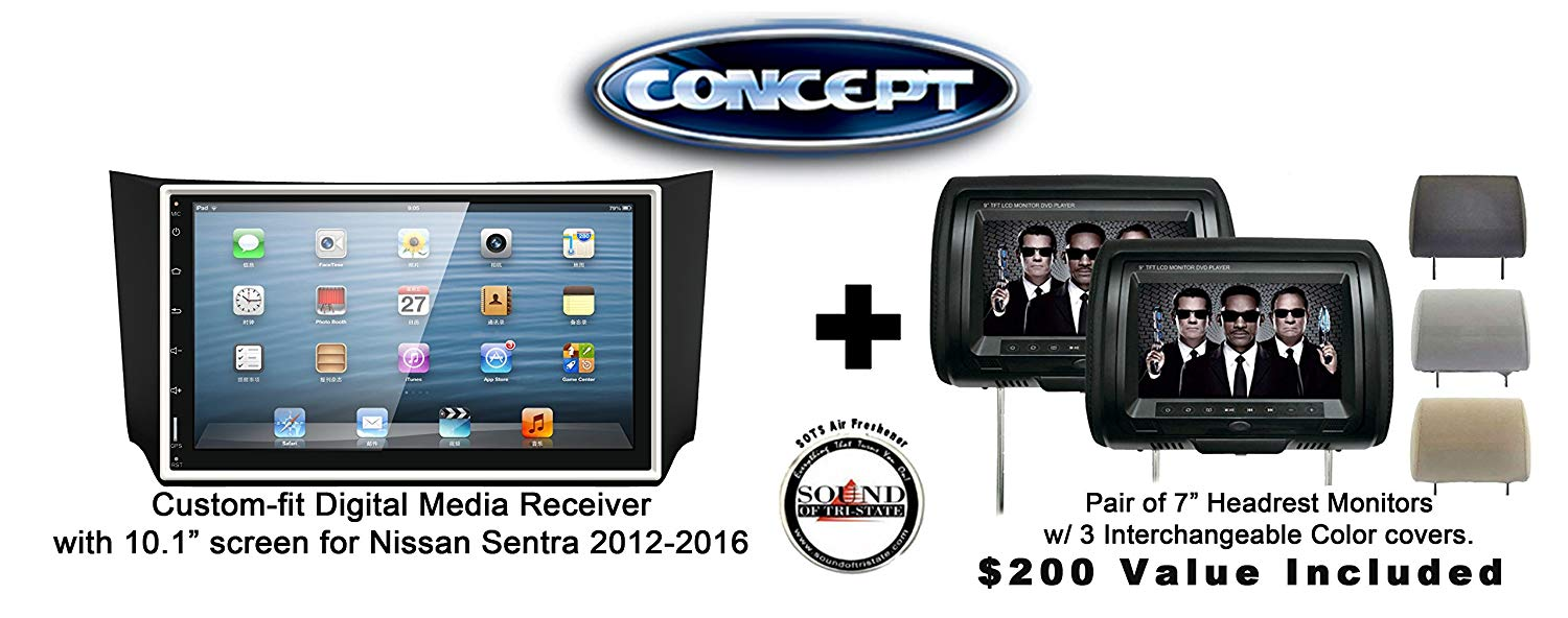 "Concept FFMS-10L Custom-Fit Digital Media Receiver w/ 10.1"" screen NIS-SEN-10 for Nissan Sentra (2012-2016) & Pair of CLS703 7"" Headrest Monitors w/ 3 color covers & a FREE SOTS Air Freshener Included"