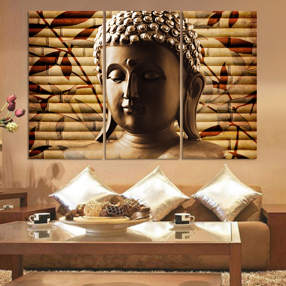 3pieces Classical Buddha Painting Solemn Buddhism Wall Canvas Art <font><b>Asian</b></font> Religion Ancient Picture For House <font><b>Decoration</b></font> Unframed