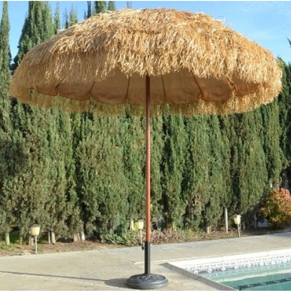 Tiki Thatched Hula Beach Umbrella 8' Feet Wide Sun Shade Market Business Patio