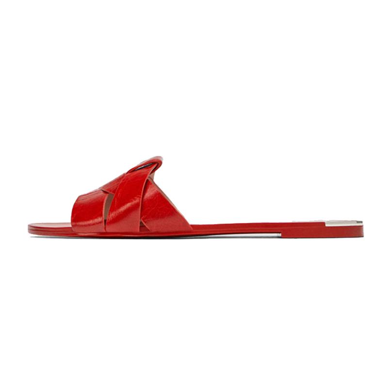 2020 latest designs leather women slipper sandal