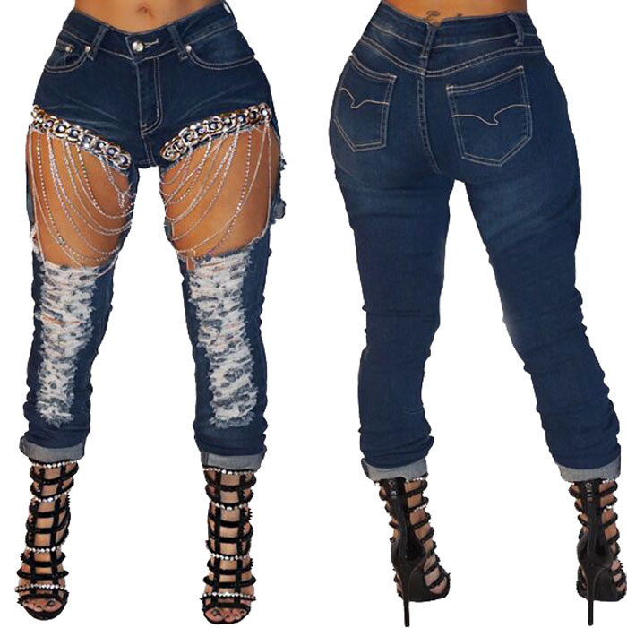 90623-MX104 popular style ripped denim chain jeans women