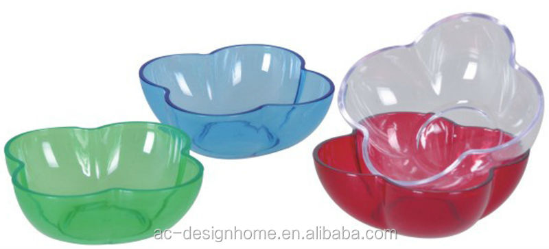 FUCHSIA, TURQUOISE, LIME GREEN, ORANGE 0.19L FLOWER SHAPE PS PLASTIC BOWL