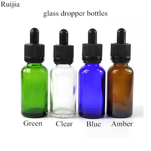 Ruijia vape oil e liquid blue clear amber 5ml 10ml 15ml 20ml 30ml 50ml 100ml glass dropper bottle with dropper