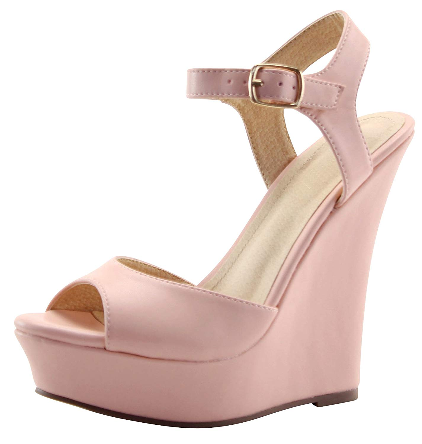 12531b2774a7 Get Quotations · Cambridge Select Women s Peep Toe Buckle Ankle Strappy High  Platform Wedge Sandal