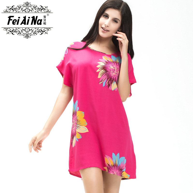 Buy Summer Floral Printed Female Cotton Bathrobe Pijamas Comfort ...