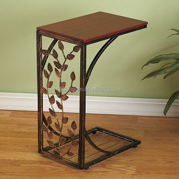 Metal And Wood Cherry Finish Decorative Vine Leaf Scroll Design Side Sofa End Table