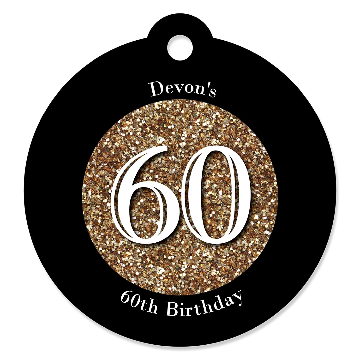 Custom Adult 60th Birthday - Gold - Personalized Birthday Party Favor Gift Tags (Set of 20)
