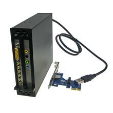 Free shipping PCI-e x1 To 2 PCI 32bit slots adapter  Riser Card support PCI express x1 x4 x8 x16 Optical Drive Bay Installation