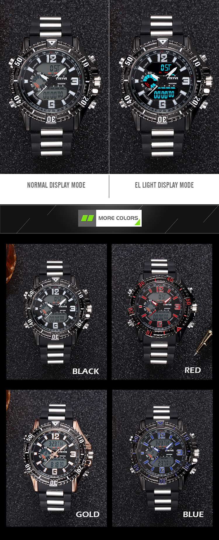 STRYVE Military Quartz Sport Watches For Men Analog Digital Watch Men Clock LED Men's Watches Waterproof Wristwatch Mens