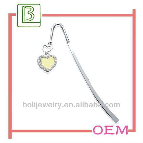 hot wholesale custom metal heart pendant bookmarks with logo