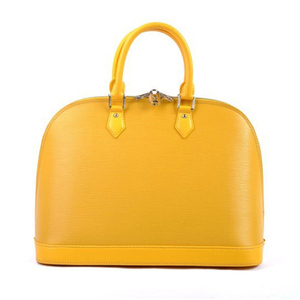 top quality fashion designer brands water ripple genuine leather women yellow shell tote hand bags