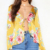 YILEYA factory yellow floral blouse ,deep v floral summer tops blouse