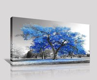 Modern Nature Landscape Blue Tree Giclee on Canvas Wall Art Decoration Gift