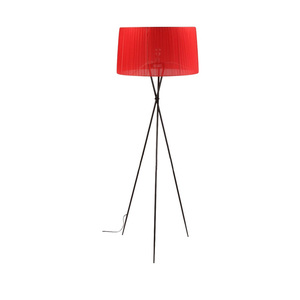 certified E27 iron red black white fabric tripod down light floor lamp