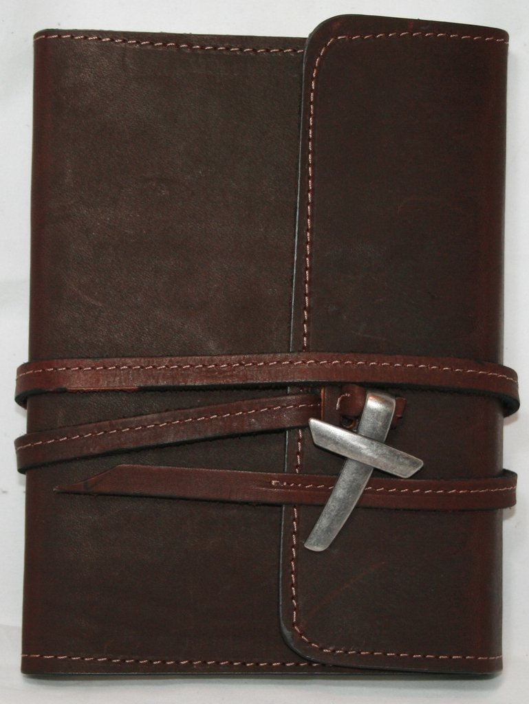 "Leather Journal / Leather Notebook / Leather Diary 5"" X 7"" Genuine Top Grain Latigo Leather - With Leather Strap Closure and Pewter Finish Cross and Lined Kraft Paper Insert (Refills Available) Handcrafted in USA"