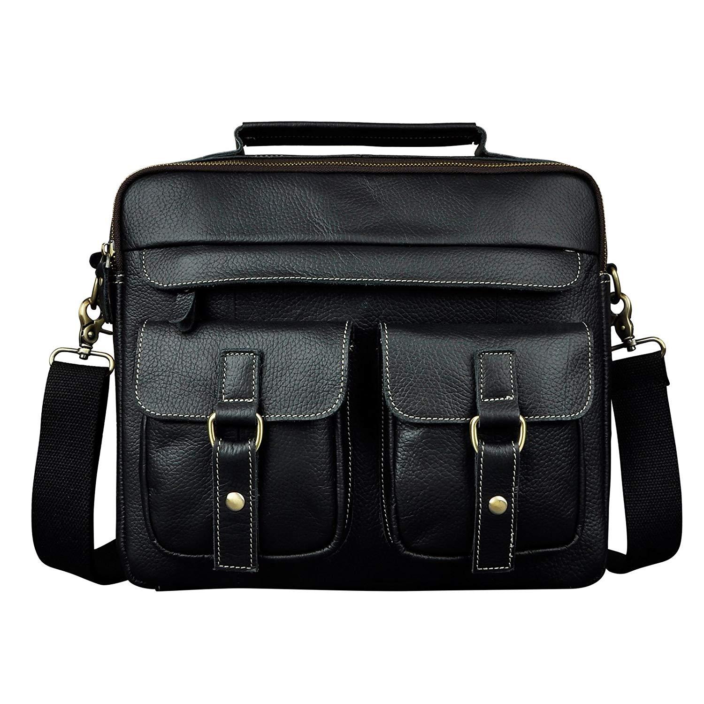 057fb5c1bafb Get Quotations · Le aokuu Mens Leather Cowhide Document Case Briefcase  Attache Messenger Bag Laptop Portfolio Bag (