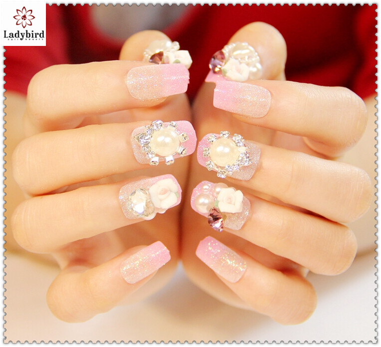 2014 New Design Bride Wedding Fake Nails 3d Pearl Rhinestone Gliiter ...