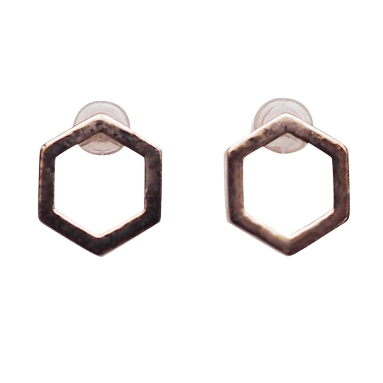Miyabi Grace Women's Comfortable Modern Minimalist Hexagon Simple Invisible Clip On Stud Earrings Rose gold tone