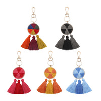 New Style Keychain folk-custom Tassel Round Handbag Pendant Charm Wedding Gift Car bag Keychain Tassel Cellphone Chain