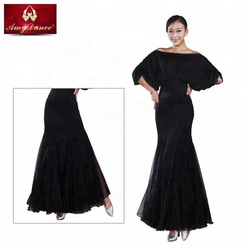 fd7199858 Venta caliente negro de cola de pescado de estilo de baile Flamenco faldas