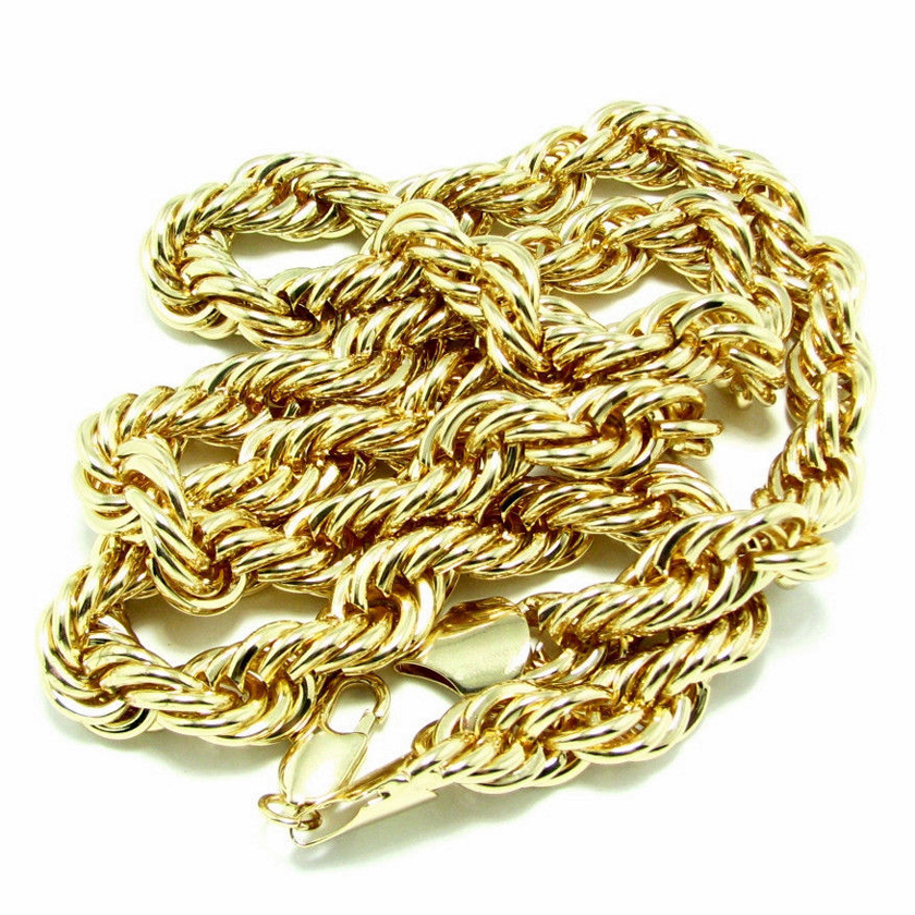 "ROPE CHAIN Mens 18K GOLD PLATED 10MM Heavy FAT Hip Hop BIG Dookie 30"" NECKLACE"