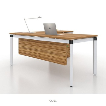 MDF chipboard melamine wooden panel ceo director computer desk table office cubicle furniture with cabinet by Guangzhou supplier