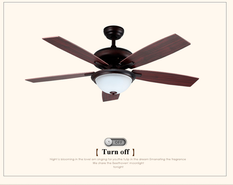 52 Inches Simple Antique Ceiling Fan Light Decorative LED Ceiling Fan With Light