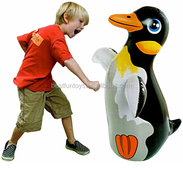 Inflatable 3d Bop Bag Penguin Toys Customized Balloons Plastic Water Beach For Kids