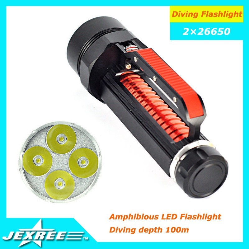 Jexree 4000LM 4x XM-L L2 LED 26650 Diving Scuba Flashlight Underwater Torch 200m