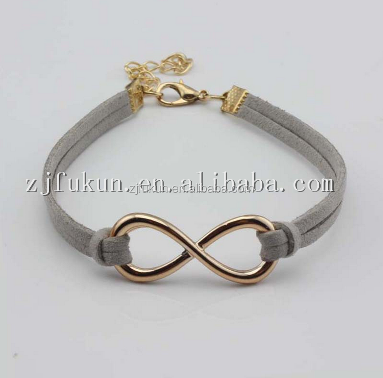 18k gold plated infinity leahter rope bracelet, colorful korea cord infinity bracelet