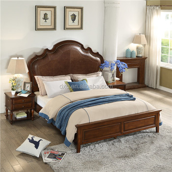American Village Style Fancy Luxury Wood Double Bed Design Beds Bedroom Furniture