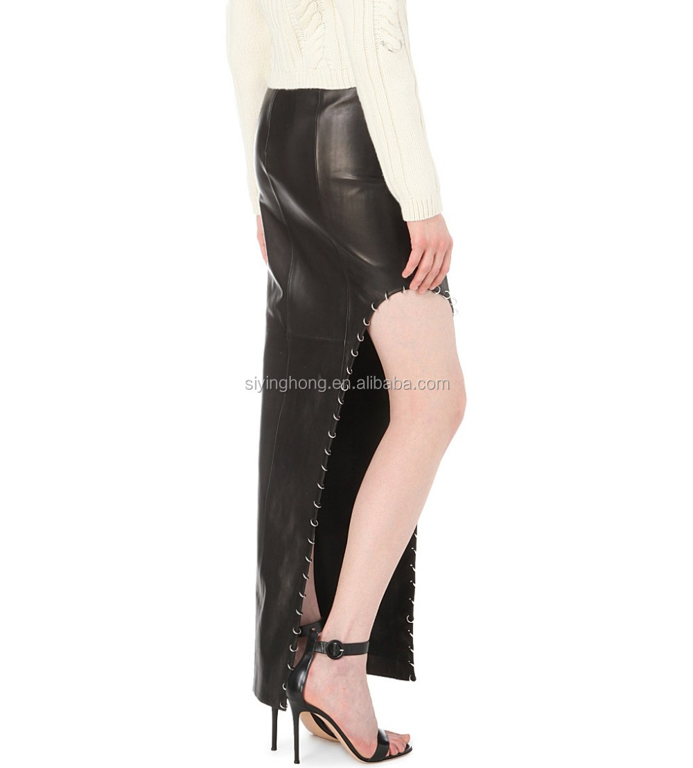 mature woman leather skirt asymmetric split at side jupe leather