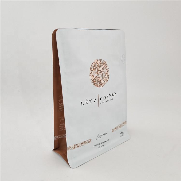 Eco Vriendelijke 8 Sides Afdichting Platte Bodem Rits Custom Afdrukken Recyclebaar 250 Gram Koffie Zak
