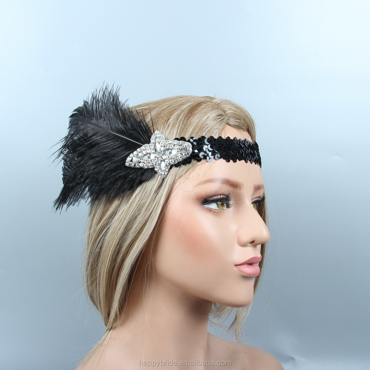 Lowosaiwor Black Ostrich Feather Headband 1920s Great Gatsby Headpiece with Crystal Applique Handmade HD0057