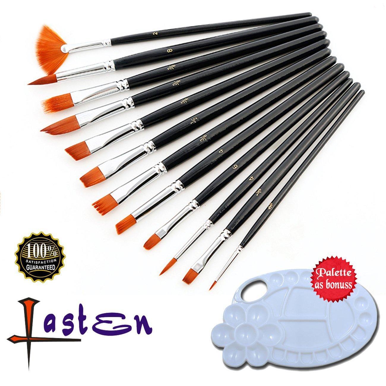 Lasten Paint Brush Set, Professional Paint Brushes Nylon Hair Artist Acrylic Brush for Watercolor Oil Acrylic Gouache Painting(12 pcs/set)