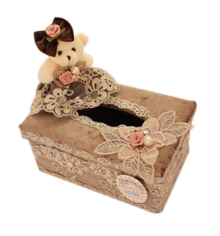 Cute Honey Brown Wedding Bear Fabric Tissue Holder Tissue Box Cover(Short) - Cute Honey Brown Wedding Bear Fabric Tissue Holder Tissue Box Cover(Short)