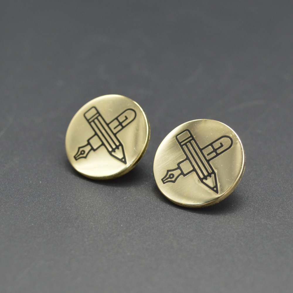 fashion cross circle badges soft enamel pen and pencil gold lapel pins