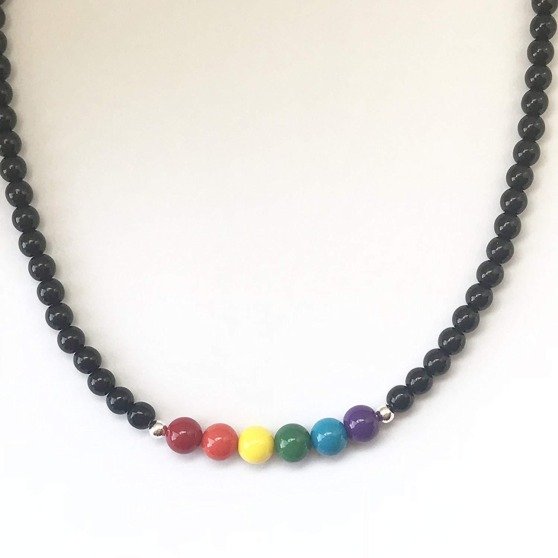 Handmade Beaded Necklace~Classic Style~Gay Pride~Rainbow~Men~Women~Unisex~Black or White
