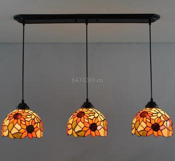 8inch  3 lamp heads pendant lamp for home decoration made by hand in tiffany style