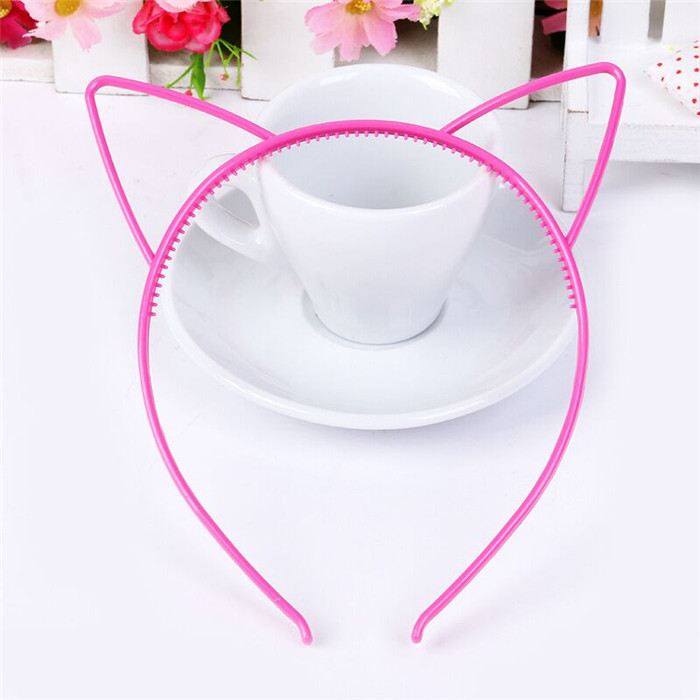 Factory Wholesale Kids Candy Color Plastic Cat Ears Shape Hair Band