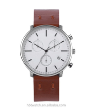 Silver Fashion Quartz OEM Brand Wrist Watch Italian Leather Band