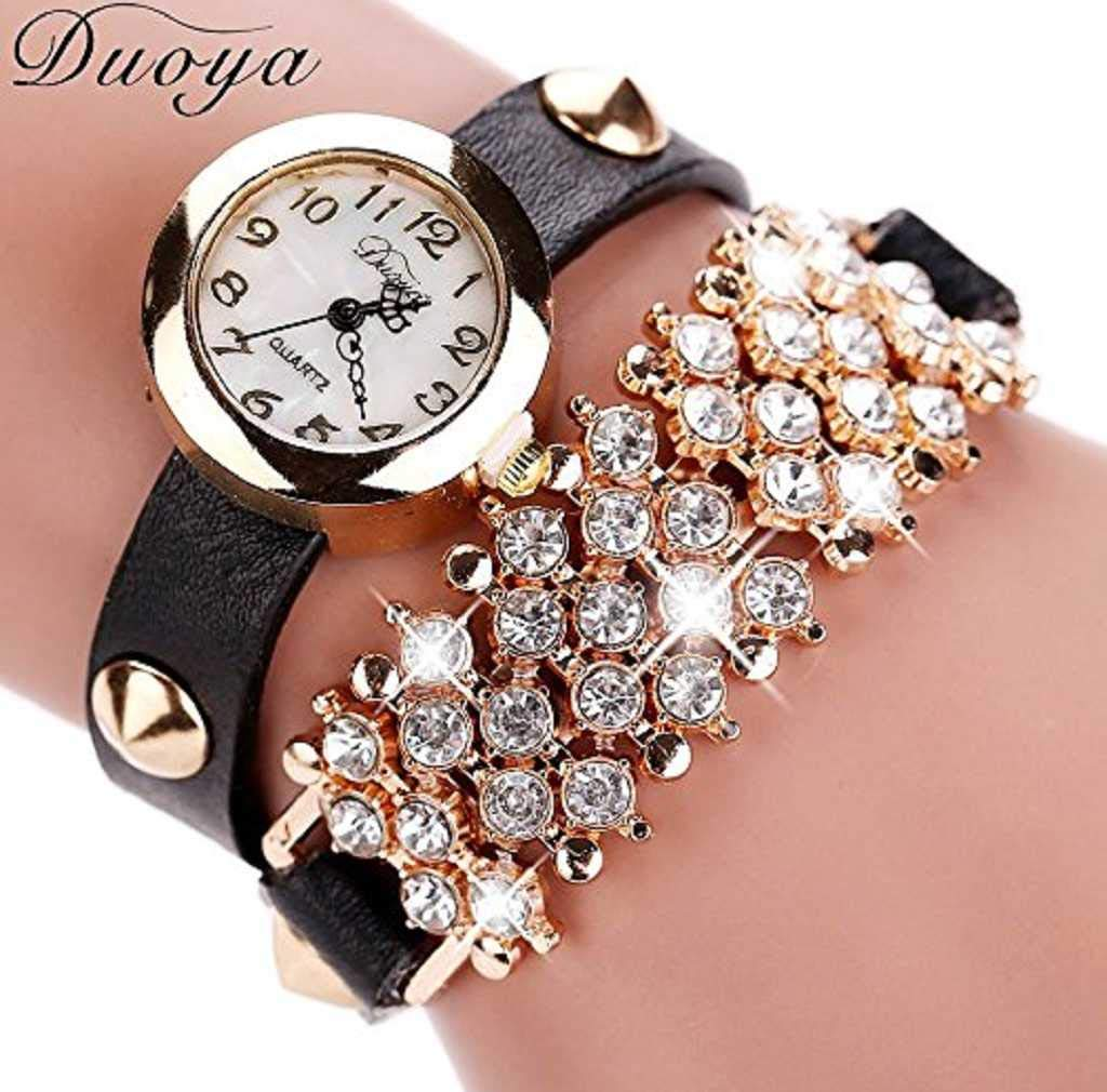 Clearance Sale! Womens Watches,ICHQ Womens Bracelet Watches Clearance Ladies Watches Female Watches on Sale Cheap Leather Watch (Black)