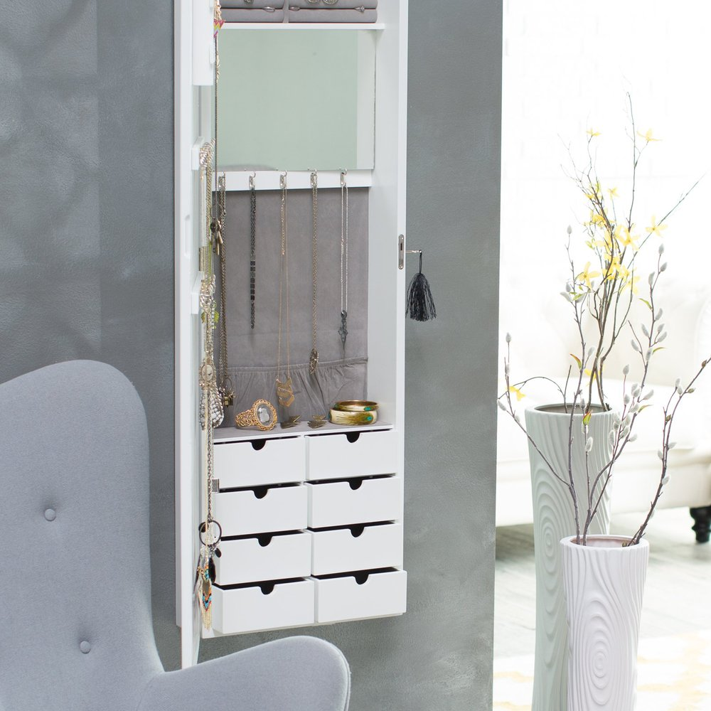 Bedroom wall wardrobe storage cabinet jewelry locking for Bedroom wall cabinet with mirror