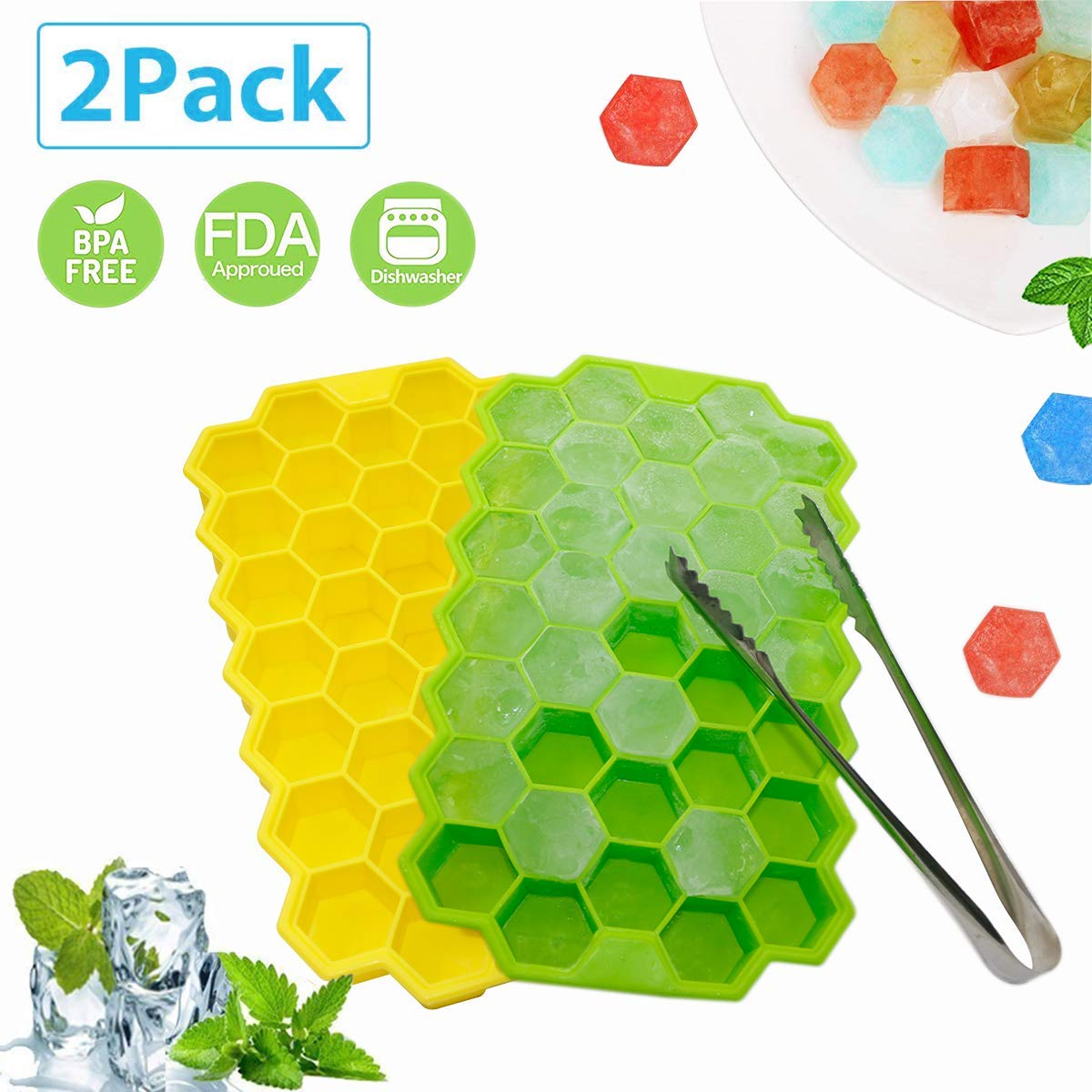 2 Pack Silicone Ice Cube Trays with Removable Lid, Easy Release Honeycomb Shape Ice Molds and Stainless Steel Ice Tongs,BPA Free Stackable Durable and Dishwasher Safe