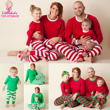 Wholesale 2017 Red White   Green White   Red Green Stripes Cotton Kids  Adult Christmas Pajamas 98a5c93babf7