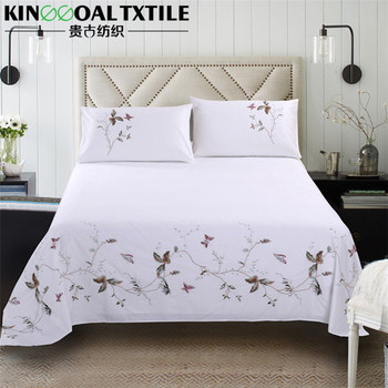 Natural 100% Cotton 300TC King/ Queen Single Size Flat Hand Embroidery Bed  Sheet