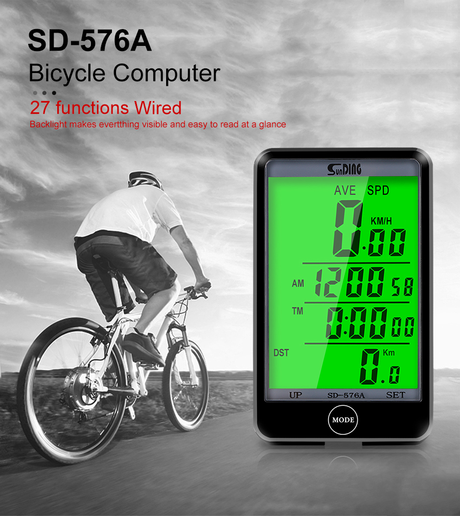 SD-576A Waterproof Bike Computer Touch Screen LCD Display Wired Speedometer